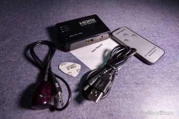 Switch HDMI 3/5 intrari, telecomanda