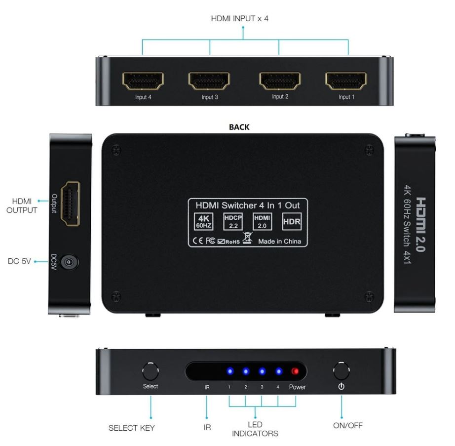 switch hdmi cu telecomanda si suport 4k, ultra hd
